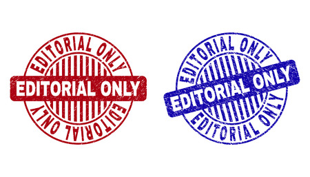 Grunge EDITORIAL ONLY round stamp seals isolated on a white background. Round seals with distress texture in red and blue colors.