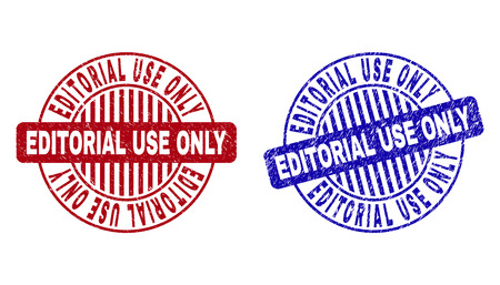 Grunge EDITORIAL USE ONLY round stamp seals isolated on a white background. Round seals with grunge texture in red and blue colors.