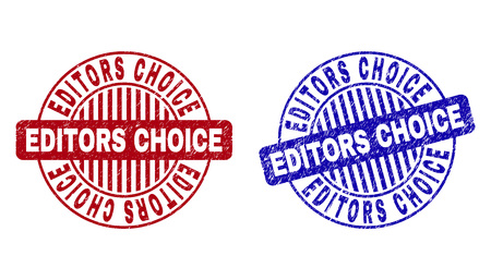 Grunge EDITORS CHOICE round stamps isolated on a white background. Round seals with grunge texture in red and blue colors. Vector rubber imprint of EDITORS CHOICE tag inside circle form with stripes.