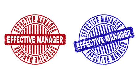 Grunge EFFECTIVE MANAGER round stamp seals isolated on a white background. Round seals with distress texture in red and blue colors.
