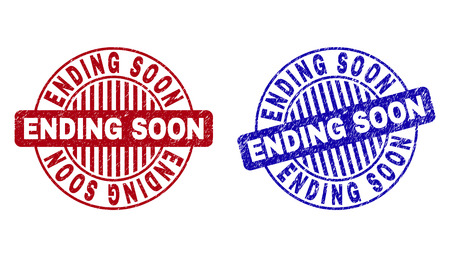 Grunge ENDING SOON round stamp seals isolated on a white background. Round seals with grunge texture in red and blue colors. Vector rubber imprint of ENDING SOON label inside circle form with stripes. Illustration