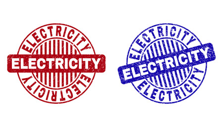 Grunge ELECTRICITY round stamp seals isolated on a white background. Round seals with grunge texture in red and blue colors.