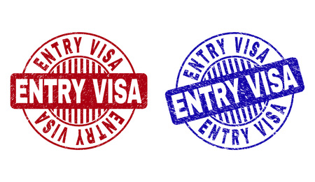 Grunge ENTRY VISA round stamp seals isolated on a white background. Round seals with grunge texture in red and blue colors. Vector rubber watermark of ENTRY VISA title inside circle form with stripes.
