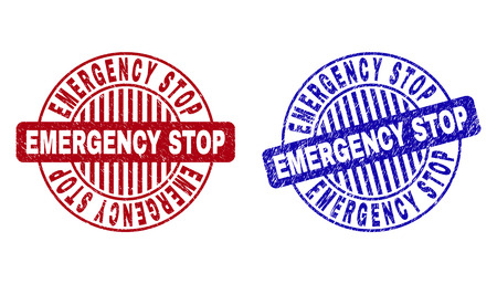 Grunge EMERGENCY STOP round stamp seals isolated on a white background. Round seals with grunge texture in red and blue colors.