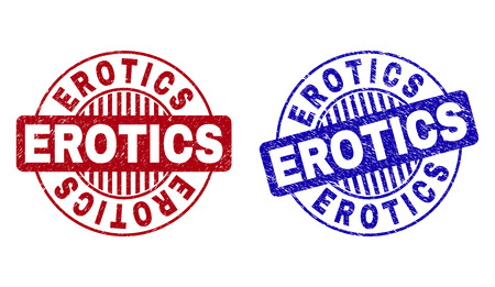 Grunge EROTICS round stamp seals isolated on a white background. Round seals with distress texture in red and blue colors. Vector rubber imitation of EROTICS title inside circle form with stripes. Illustration
