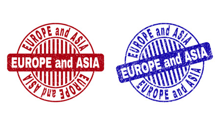 Grunge EUROPE AND ASIA round stamp seals isolated on a white background. Round seals with grunge texture in red and blue colors.