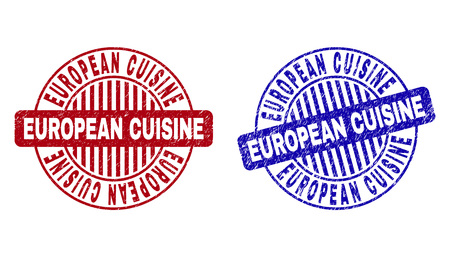 Grunge EUROPEAN CUISINE round stamp seals isolated on a white background. Round seals with grunge texture in red and blue colors. Illustration