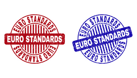Grunge EURO STANDARDS round stamp seals isolated on a white background. Round seals with grunge texture in red and blue colors.