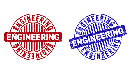Grunge ENGINEERING round stamp seals isolated on a white background. Round seals with grunge texture in red and blue colors. Vector rubber imprint of ENGINEERING title inside circle form with stripes.