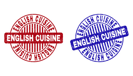 Grunge ENGLISH CUISINE round stamp seals isolated on a white background. Round seals with grunge texture in red and blue colors. Illustration