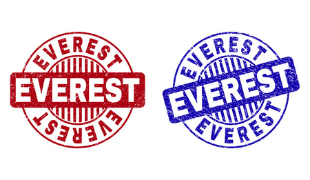 Grunge EVEREST round stamp seals isolated on a white background. Round seals with grunge texture in red and blue colors. Vector rubber imprint of EVEREST text inside circle form with stripes. Illustration