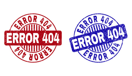 Grunge ERROR 404 round stamp seals isolated on a white background. Round seals with distress texture in red and blue colors. Vector rubber imitation of ERROR 404 text inside circle form with stripes.