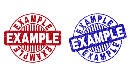 Grunge EXAMPLE round stamp seals isolated on a white background. Round seals with grunge texture in red and blue colors. Vector rubber watermark of EXAMPLE title inside circle form with stripes. Illustration
