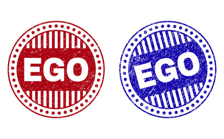 Grunge EGO round stamp seals isolated on a white background. Round seals with grunge texture in red and blue colors. Vector rubber overlay of EGO label inside circle form with stripes.