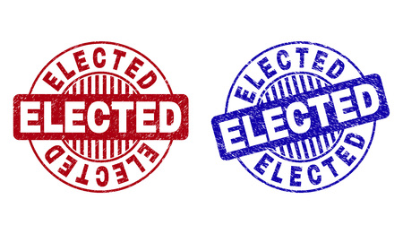 Grunge ELECTED round stamp seals isolated on a white background. Round seals with grunge texture in red and blue colors. Vector rubber imprint of ELECTED tag inside circle form with stripes.