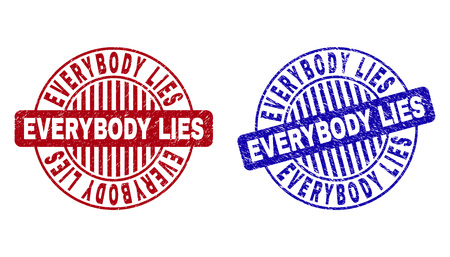 Grunge EVERYBODY LIES round stamp seals isolated on a white background. Round seals with grunge texture in red and blue colors.