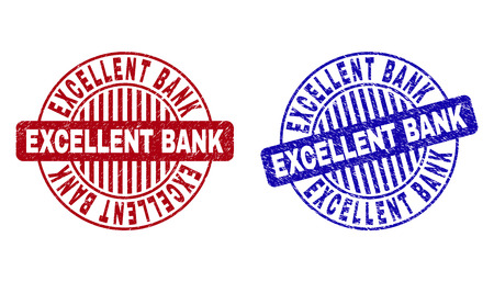 Grunge EXCELLENT BANK round stamp seals isolated on a white background. Round seals with distress texture in red and blue colors.