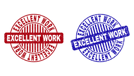 Grunge EXCELLENT WORK round stamp seals isolated on a white background. Round seals with grunge texture in red and blue colors.