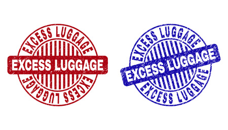 Grunge EXCESS LUGGAGE round stamp seals isolated on a white background. Round seals with grunge texture in red and blue colors.