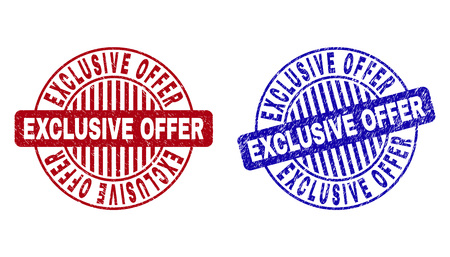 Grunge EXCLUSIVE OFFER round stamp seals isolated on a white background. Round seals with grunge texture in red and blue colors.