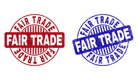 Grunge FAIR TRADE round stamp seals isolated on a white background. Round seals with grunge texture in red and blue colors. Vector rubber imprint of FAIR TRADE label inside circle form with stripes.