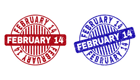 Grunge FEBRUARY 14 round stamp seals isolated on a white background. Round seals with grunge texture in red and blue colors.