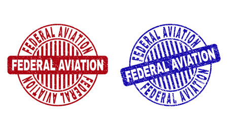 Grunge FEDERAL AVIATION round stamp seals isolated on a white background. Round seals with grunge texture in red and blue colors.