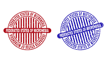 Grunge FEDERATED STATES OF MICRONESIA round stamp seals isolated on a white background. Round seals with grunge texture in red and blue colors.