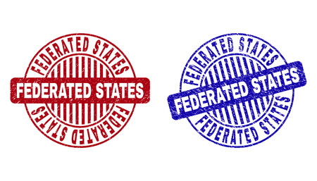 Grunge FEDERATED STATES round stamp seals isolated on a white background. Round seals with grunge texture in red and blue colors.