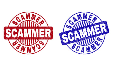 Grunge SCAMMER round stamp seals isolated on a white background. Round seals with grunge texture in red and blue colors. Vector rubber imprint of SCAMMER title inside circle form with stripes.