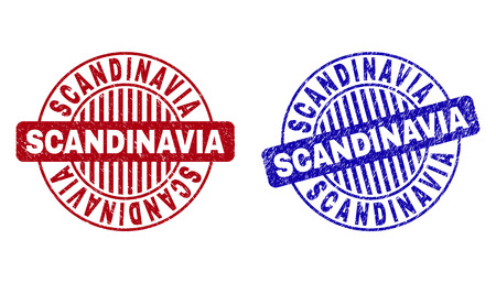 Grunge SCANDINAVIA round stamp seals isolated on a white background. Round seals with grunge texture in red and blue colors. Vector rubber watermark of SCANDINAVIA tag inside circle form with stripes.