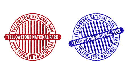 Grunge YELLOWSTONE NATIONAL PARK round stamp seals isolated on a white background. Round seals with grunge texture in red and blue colors.