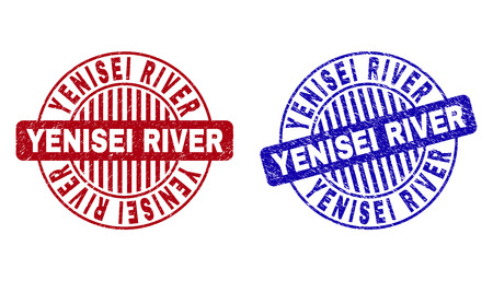 Grunge YENISEI RIVER round stamp seals isolated on a white background. Round seals with grunge texture in red and blue colors. Illusztráció