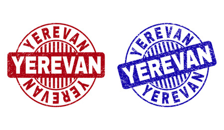 Grunge YEREVAN round stamp seals isolated on a white background. Round seals with grunge texture in red and blue colors. Vector rubber overlay of YEREVAN label inside circle form with stripes.
