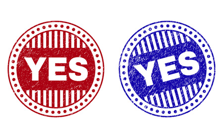 Grunge YES round stamp seals isolated on a white background. Round seals with grunge texture in red and blue colors. Vector rubber imprint of YES text inside circle form with stripes.
