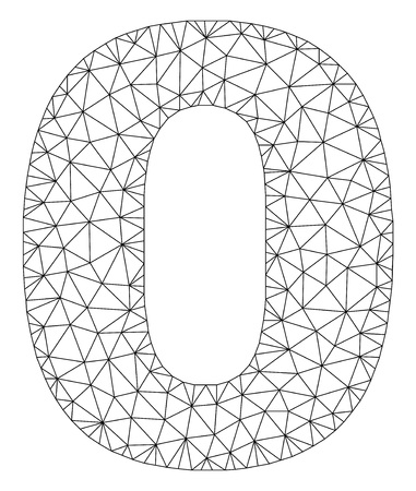 Mesh vector 0 text label. Abstract lines and small circles form 0 black carcass symbols. Wire carcass flat polygonal mesh