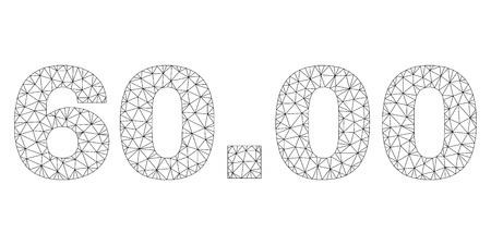 Mesh vector 60.00 text label. Abstract lines and spheric points are organized into 60.00 black carcass symbols. Linear carcass 2D triangular mesh in vector format.