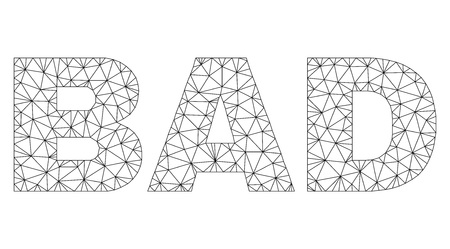 Mesh vector BAD text. Abstract lines and small circles form BAD black carcass symbols. Wire carcass flat polygonal mesh