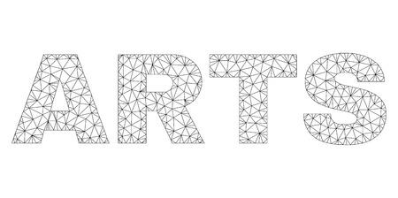 Mesh vector ARTS text. Abstract lines and small circles are organized into ARTS black carcass symbols. Linear carcass 2D polygonal network Illusztráció