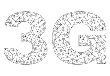 Mesh vector 3G text. Abstract lines and dots form 3G black carcass symbols. Linear carcass 2D polygonal mesh