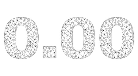 Mesh vector 0.00 text label. Abstract lines and dots form 0.00 black carcass symbols. Linear carcass 2D polygonal mesh