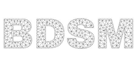 Légende de texte BDSM de vecteur de maillage. Les lignes et les points abstraits sont organisés en symboles de carcasse noire BDSM. Carcasse linéaire maillage polygonal 2D Vecteurs