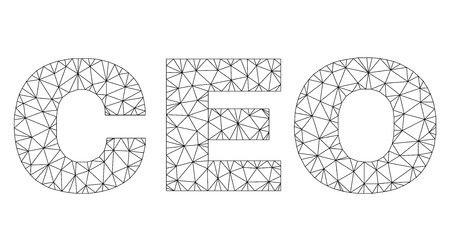 Mesh vector CEO text. Abstract lines and circle dots form CEO black carcass symbols. Linear carcass flat polygonal mesh