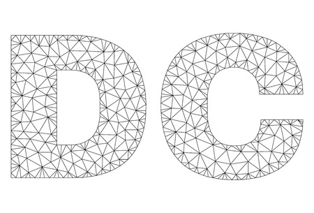 Mesh vector DC text. Abstract lines and spheric points are organized into DC black carcass symbols. Wire carcass flat polygonal mesh in vector format.