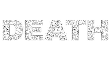 Mesh vector DEATH text. Abstract lines and spheric points are organized into DEATH black carcass symbols. Linear carcass 2D polygonal mesh Illustration