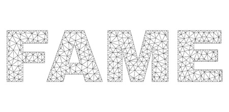 Mesh vector FAME text. Abstract lines and circle dots form FAME black carcass symbols. Linear carcass 2D polygonal mesh Illustration