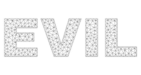 Mesh vector EVIL text. Abstract lines and dots form EVIL black carcass symbols. Linear carcass flat triangular mesh