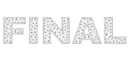 Mesh vector FINAL text. Abstract lines and small circles form FINAL black carcass symbols. Linear frame 2D triangular mesh