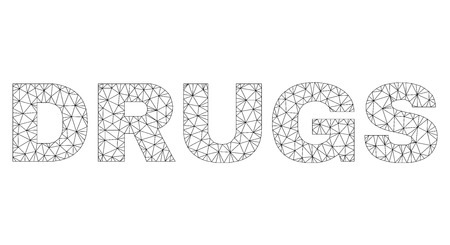 Mesh vector DRUGS text label. Abstract lines and points form DRUGS black carcass symbols. Linear carcass 2D polygonal mesh in vector format. Ilustrace