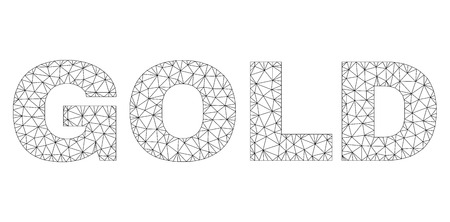 Mesh vector GOLD text. Abstract lines and points form GOLD black carcass symbols. Wire carcass 2D polygonal mesh